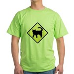 CAUTION! Cat Crossing Green T-Shirt