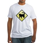 CAUTION! Cat Crossing Fitted T-Shirt