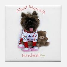 Cairn Terrier Good Morning Tile Coaster