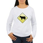 CAUTION! Cattle Crossing Women's Long Sleeve T-Shi