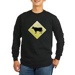CAUTION! Cattle Crossing Long Sleeve Dark T-Shirt