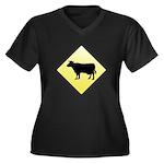 CAUTION! Cattle Crossing Women's Plus Size V-Neck