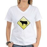 CAUTION! Cattle Crossing Women's V-Neck T-Shirt