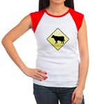 CAUTION! Cattle Crossing Women's Cap Sleeve T-Shir