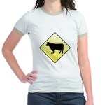 CAUTION! Cattle Crossing Jr. Ringer T-Shirt