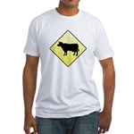 CAUTION! Cattle Crossing Fitted T-Shirt