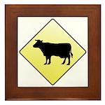 CAUTION! Cattle Crossing Framed Tile