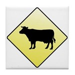 CAUTION! Cattle Crossing Tile Coaster