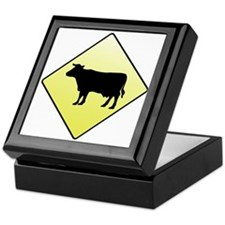 CAUTION! Cattle Crossing Keepsake Box