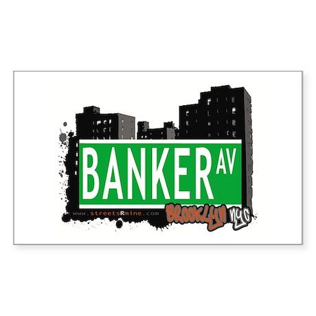 BANKER AVENUE, BROOKLYN, NYC Rectangle Sticker