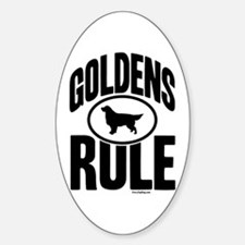 Golden Retrievers Rule Oval Decal