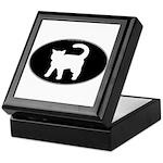 Cat B&W Oval Keepsake Box