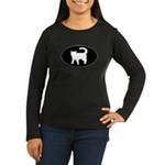 Cat B&W Oval Women's Long Sleeve Dark T-Shirt
