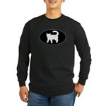 Cat B&W Oval Long Sleeve Dark T-Shirt