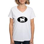 Cat B&W Oval Women's V-Neck T-Shirt