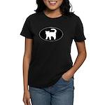 Cat B&W Oval Women's Dark T-Shirt