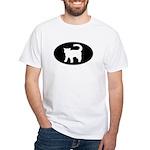 Cat B&W Oval White T-Shirt