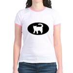 Cat B&W Oval Jr. Ringer T-Shirt