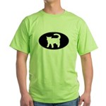 Cat B&W Oval Green T-Shirt