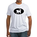 Cat B&W Oval Fitted T-Shirt