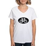 Cycling Oval B&W Women's V-Neck T-Shirt