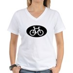 Cycling Oval B&W Women's V-Neck T-Shirt