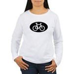 Cycling Oval B&W Women's Long Sleeve T-Shirt