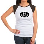 Cycling Oval B&W Women's Cap Sleeve T-Shirt
