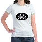 Cycling Oval B&W Jr. Ringer T-Shirt