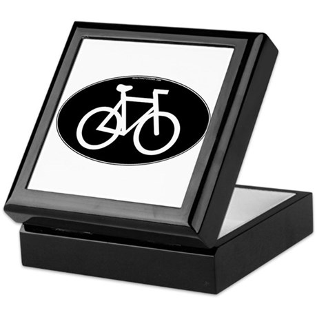Cycling Oval B&W Keepsake Box