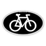 Cycling Oval B&W Oval Sticker