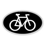 Cycling Oval B&W Oval Sticker