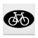 Cycling Oval B&W Tile Coaster
