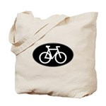Cycling Oval B&W Tote Bag