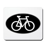Cycling Oval B&W Mousepad