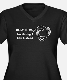 Kids No Way Women's Plus Size V-Neck Dark T-Shirt
