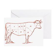 Retro Beef Cut Chart Greeting Card