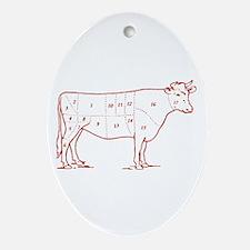 Retro Beef Cut Chart Oval Ornament