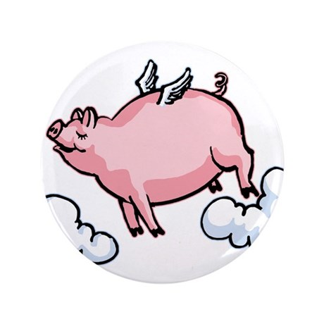 """Flying Pig 3.5"""" Button"""