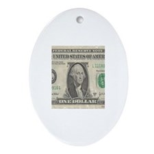 Dollar Bill Oval Ornament
