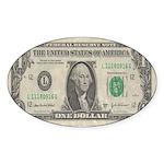 Dollar Bill Oval Sticker