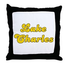 Retro Lake Charles (Gold) Throw Pillow