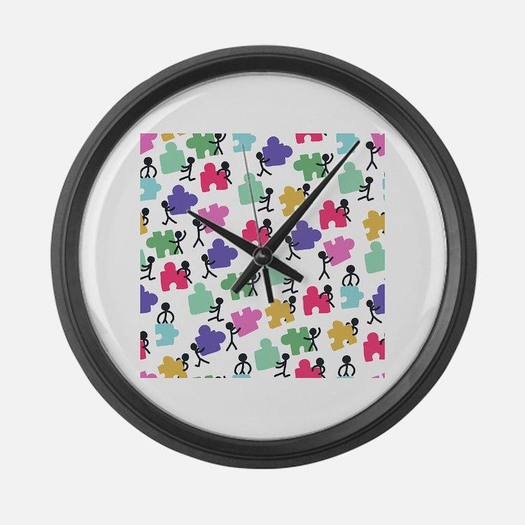 Cute Autism awareness Large Wall Clock