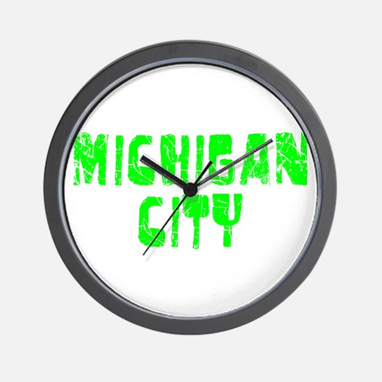 Michigan City Faded (Green) Wall Clock
