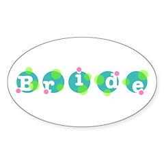 Retro Dots Bride Design Oval Decal