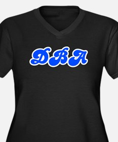 Retro DBA (Blue) Women's Plus Size V-Neck Dark T-S