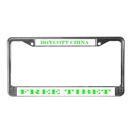 BOYCOTT CHINA-FREE TIBET License Plate Frame