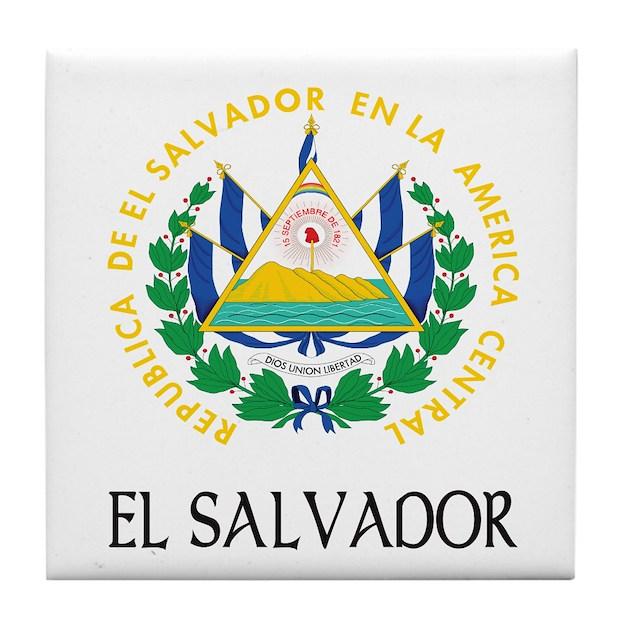 El Salvador Coat Of Arms Tile Coaster By Fullmoonemp