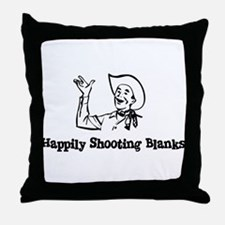 Happily Shooting Blanks Throw Pillow