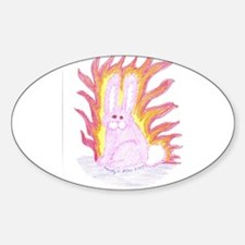 Flaming Bunny Oval Decal